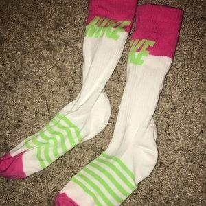 Hot pink, white&green Nike socks